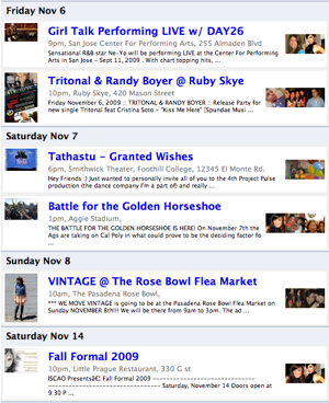 Example of Personalized Zaggle Events Newsletter